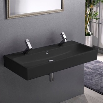 Bathroom Sink Trough Matte Black Ceramic Wall Mounted or Vessel Sink CeraStyle 080509-U-97