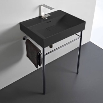 Bathroom Sink Rectangular Matte Black Ceramic Console Sink and Polished Chrome Stand CeraStyle 037107-U-97-CON