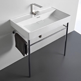 Bathroom Sink Rectangular White Ceramic Console Sink and Polished Chrome Stand CeraStyle 037300-U-CON