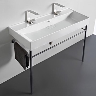 Bathroom Sink Trough White Ceramic Console Sink and Polished Chrome Stand CeraStyle 037600-U-CON