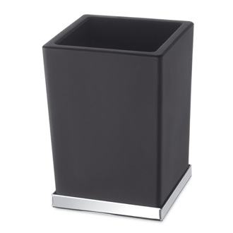 Toothbrush Holder Black or White Frosted Glass Bathroom Tumbler with Chrome Windisch 94125CR