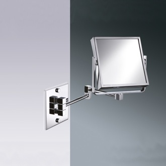 Makeup Mirror Square Wall Mounted Brass Double Face 3x or 5x Magnifying Mirror Windisch 99345