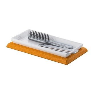 Bathroom Tray Rectangle Orange Faux Leather Comb Tray Gedy 1506-67