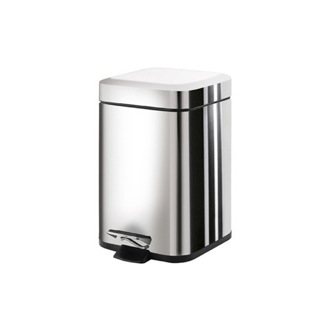 Waste Basket Square Polished Chrome Waste Bin With Pedal Gedy 2309-13