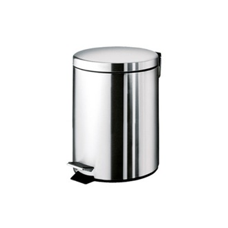 Waste Basket Round Polished Chrome Waste Bin With Pedal Gedy 2609-13
