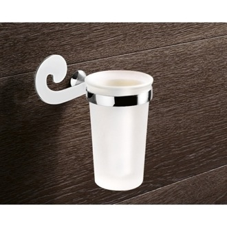 Toothbrush Holder Wall Mounted Frosted Glass Toothbrush Holder With Chrome Mounting Gedy 3310-13