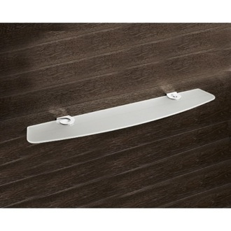 Bathroom Shelf Round Satinized Glass Bathroom Shelf With Chrome Clips Gedy 3319-60-13