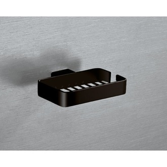 Shower Soap Holder Wall Mounted Square Matte Black Wire Soap Holder Gedy 5412-M4