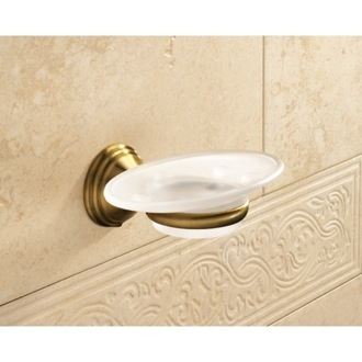 Soap Dish Wall Mounted Frosted Glass Soap Dish With Bronze Mounting Gedy 7511-44