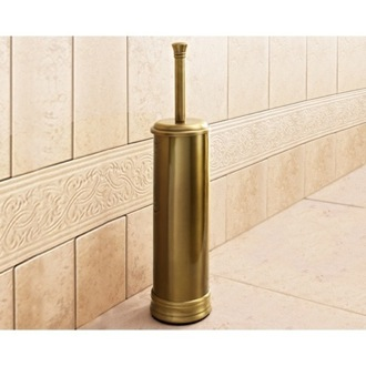 Toilet Brush Round Polished Bronze Toilet Brush Holder Gedy 7533-44