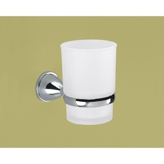 Toothbrush Holder Wall Mounted Frosted Glass Toothbrush Holder With Chrome Mounting Gedy GE10-13