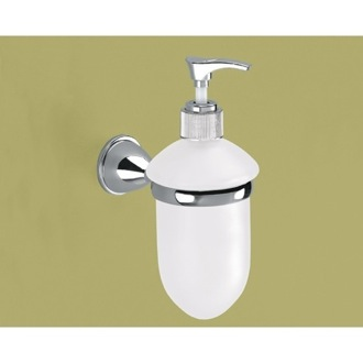 Soap Dispenser Wall Mounted Frosted Glass Soap Dispenser With Chrome Mounting Gedy GE80-13