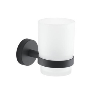 Toothbrush Holder Frosted Glass Toothbrush Holder With Matte Black Wall Mount Gedy 2310-14