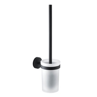 Toilet Brush Frosted Glass Matte Black Mounted Toilet Brush Holder Gedy 2333-03-14