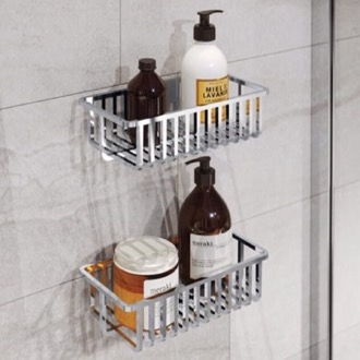 Shower Basket Set of Wall Mounted Chrome Shower Baskets Gedy 2416B-13