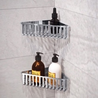Shower Basket Set of Chrome Corner Shower Baskets Gedy 2478B-13