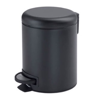 Waste Basket Matte Black Floor Standing Stainless Steel Waste Basket Gedy 3209-14