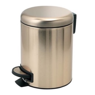 Waste Basket Matte Gold Finish Floor Standing Stainless Steel Waste Basket Gedy 3209-87