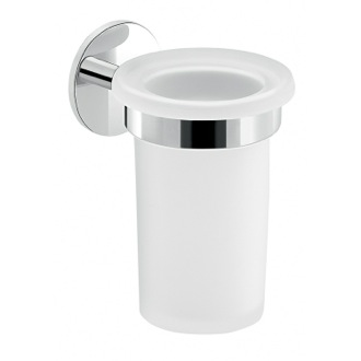 Toothbrush Holder Frosted Glass Toothbrush Holder With Adhesive Chrome Mounting Gedy 3610-13