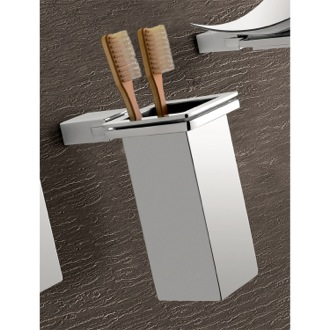 Toothbrush Holder Wall Mounted Square Polished Chrome Toothbrush Holder Gedy 3810-01-13