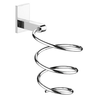 Hair Dryer Holder Large Chrome Wall Mounted Spiral Hair Dryer Holder Gedy 5056-13