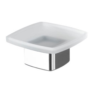 Soap Dish Square Frosted Glass Soap Dish with Polished Chrome Base Gedy 5451-13