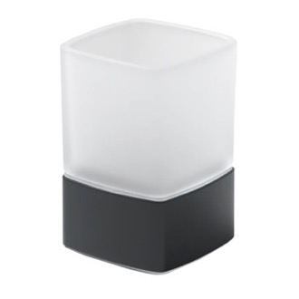 Toothbrush Holder Square Frosted Glass Toothbrush Holder With Matte Black Base Gedy 5498-M4