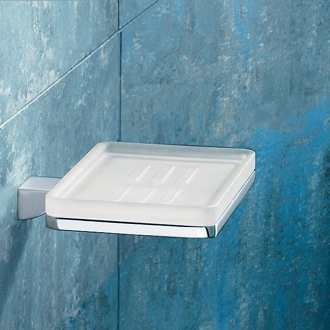 Soap Dish Wall Mounted Square Frosted Glass Soap Dish With Chrome Mounting Gedy 5711-13