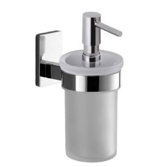 Soap Dispenser Wall Mounted Frosted Glass Soap Dispenser With Chrome Mounting Gedy 7881-13