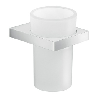 Toothbrush Holder Round Wall Mounted Cromall and Frosted Glass Tooth Brush Holder Gedy A310-13