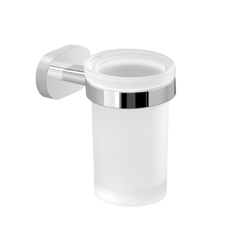 Toothbrush Holder Chromed Aluminum and Frosted Glass Wall Mounted Toothbrush Holder Gedy BE10-13