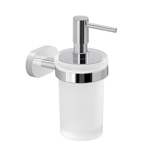Soap Dispenser Wall Mounted Frosted Glass Soap Dispenser with Chrome Mounting Gedy BE81-13