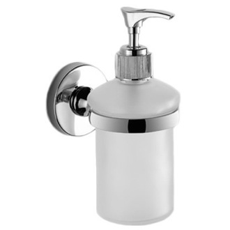 Soap Dispenser Wall Mounted Rounded Frosted Glass Soap Dispenser With Chrome Mounting Gedy FE81-13