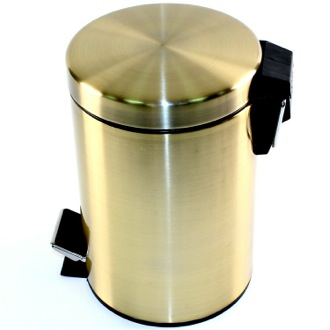 Waste Basket Round Polished Bronze Waste Bin With Pedal Gedy 2609-44