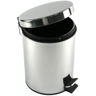 Waste Basket Round Polished Chrome Waste Bin With Pedal Gedy 2709-13