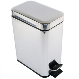 Waste Basket Rectangular Polished Chrome Waste Bin With Pedal Gedy 2909-13