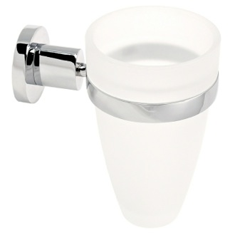 Toothbrush Holder Wall Mounted Frosted Glass Toothbrush Holder With Chrome Mounting Gedy 5110-13