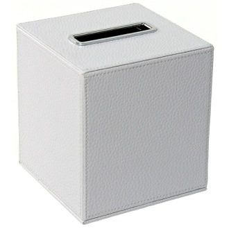 Tissue Box Cover Square Tissue Box Holder Made From Faux Leather in White Finish Gedy AC02-02