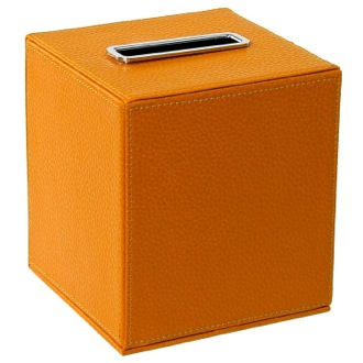 Tissue Box Cover Square Tissue Box Holder Made From Faux Leather in Orange Finish Gedy AC02-67