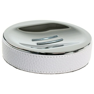 Soap Dish Round Soap Dish Made From Faux Leather In White Finish Gedy AC11-02