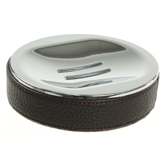 Soap Dish Round Soap Dish Made From Faux Leather In Wenge Finish Gedy AC11-19