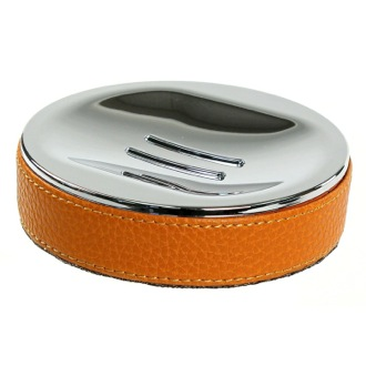 Soap Dish Round Soap Dish Made From Faux Leather In Orange Finish Gedy AC11-67