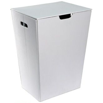 Laundry Basket Rectangular Laundry Basket Made From Faux Leather in White Finish Gedy AC38-02