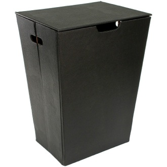 Laundry Basket Rectangular Laundry Basket Made From Faux Leather in Wenge Finish Gedy AC38-19