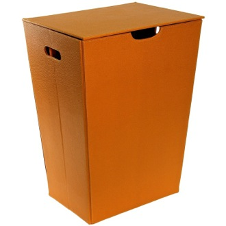 Laundry Basket Rectangular Laundry Basket Made From Faux Leather in Orange Finish Gedy AC38-67
