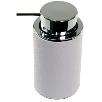 Soap Dispenser Round Soap Dispenser Made From Faux Leather In White Finish Gedy AC80-02