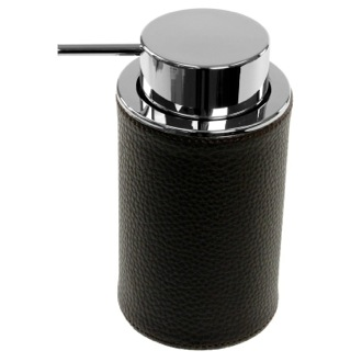 Soap Dispenser Round Soap Dispenser Made From Faux Leather In Wenge Finish Gedy AC80-19