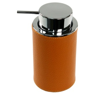 Soap Dispenser Round Soap Dispenser Made From Faux Leather In Orange Finish Gedy AC80-67
