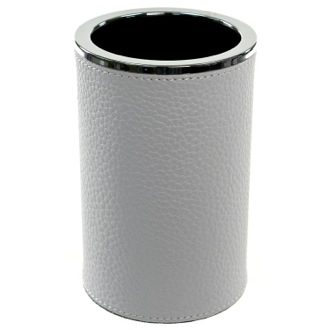 Toothbrush Holder Round Toothbrush Holder Made From Faux Leather in White Finish Gedy AC98-02