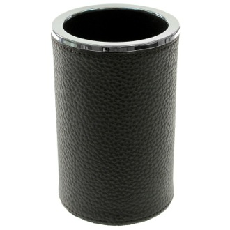 Toothbrush Holder Round Toothbrush Holder Made From Faux Leather in Wenge Finish Gedy AC98-19